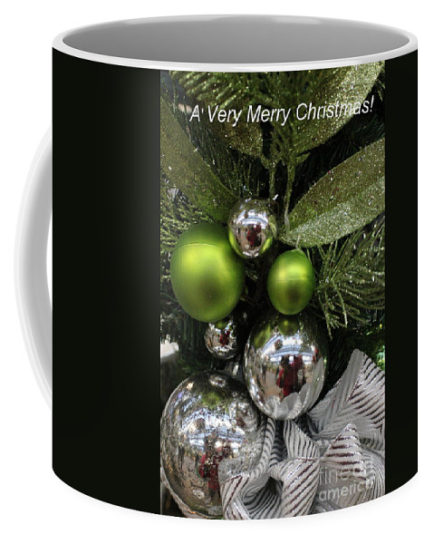 Christmas Coffee Mug featuring the photograph Silver And Green For Christmas by Dora Sofia Caputo Photographic Design and Fine Art