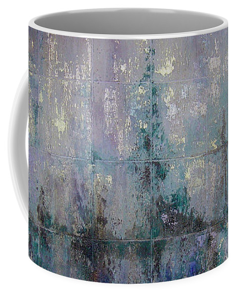 Abstract Coffee Mug featuring the painting Silver And Silent by Shadia Derbyshire