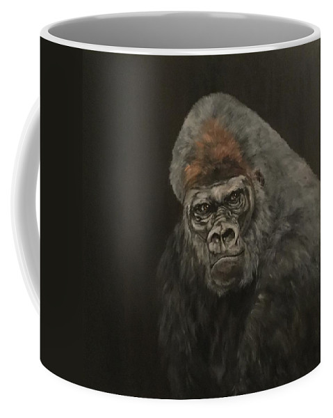 Silver Backed Gorilla Coffee Mug featuring the painting Silver Backed Gorilla by Jean Walker