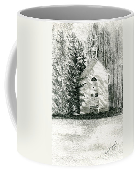 Church Coffee Mug featuring the drawing Silver City Church by Mary Tuomi