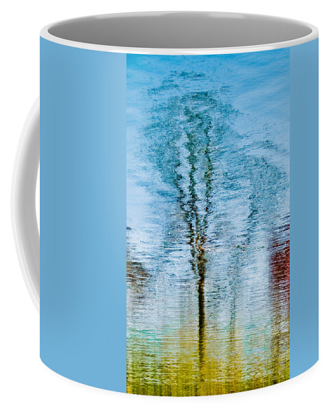 Silver Coffee Mug featuring the photograph Silver Lake Tree Reflection by Michael Bessler