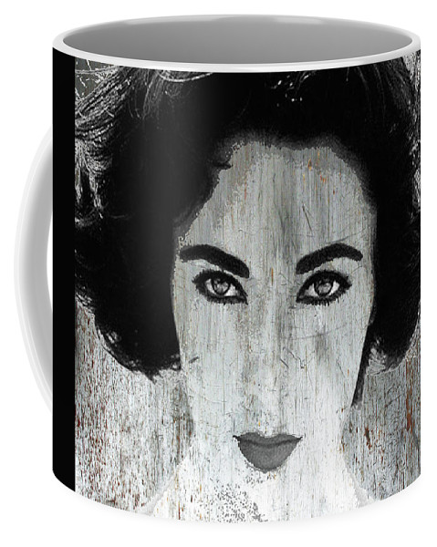 Liz Taylor Coffee Mug featuring the mixed media Silver Screen Liz Taylor by Tony Rubino