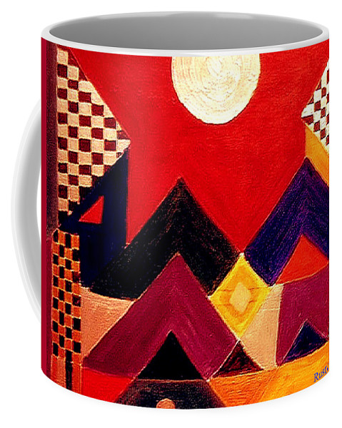 Abstract Coffee Mug featuring the painting Silvery Moon by Rusty Gladdish