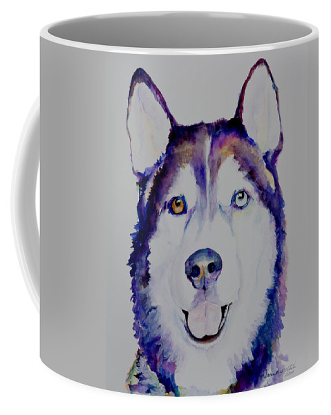 Siberian Husky Coffee Mug featuring the painting Simba by Pat Saunders-White