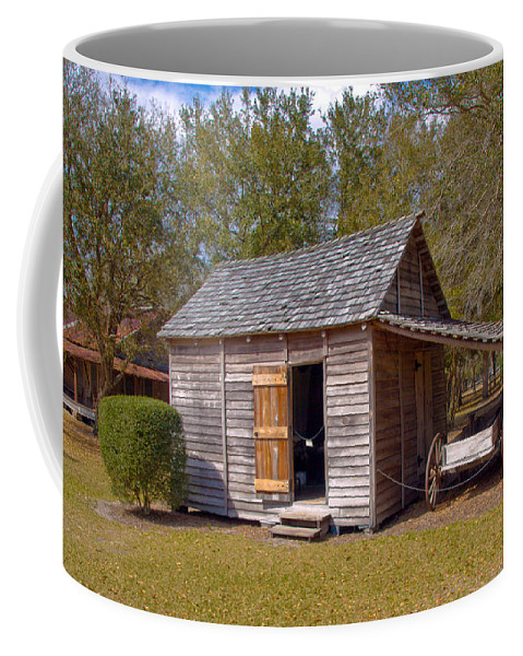 Cabin Coffee Mug featuring the photograph Simmons Cabin Built In 1873 In Orange County Florida by Allan Hughes