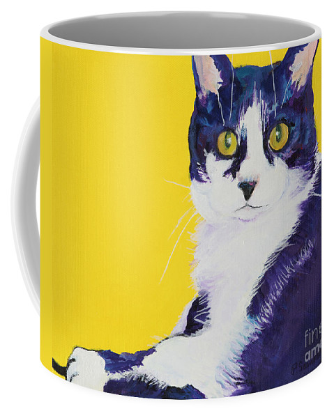 Tuxedo Cat Coffee Mug featuring the painting Simon by Pat Saunders-White