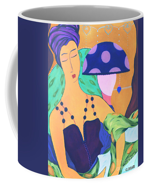 #female #figurative #decorative #pics #fineart #art #images #painter #artist #print #commisioned #feminine #women #dreamy #enchantment #simplepleasures Coffee Mug featuring the painting Simple Pleasures by Jacquelinemari