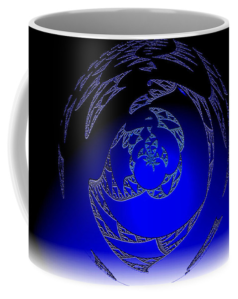 Blue Triangle Outter Space Abstract Worlds Galaxy Portal Coffee Mug featuring the digital art Simply Blue by Andrea Lawrence
