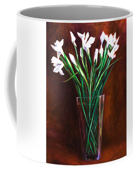 Iris Coffee Mug featuring the painting Simply Iris by Shannon Grissom