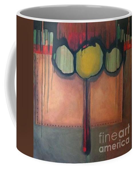 Metallic Coffee Mug featuring the painting Simply Riveting by Marlene Burns