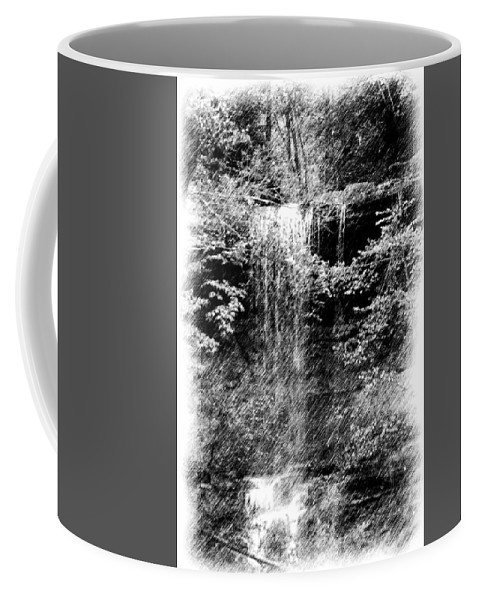 Digital Photograph Coffee Mug featuring the photograph Simulated Pencil Drawing Tinker Falls. by David Lane