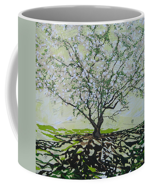Apple Tree Coffee Mug featuring the painting Sincerely-the Curator by Leah Tomaino