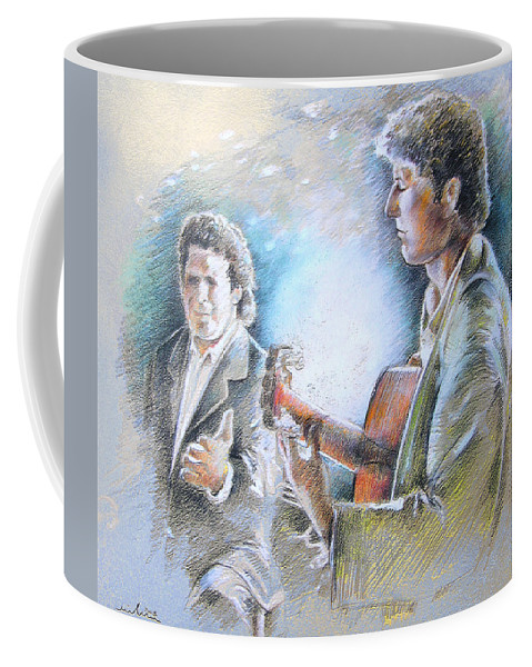 Music Coffee Mug featuring the painting Singer And Guitarist Flamenco by Miki De Goodaboom