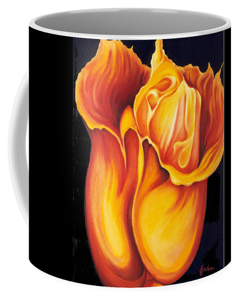 Surreal Tulip Coffee Mug featuring the painting Singing Tulip by Jordana Sands