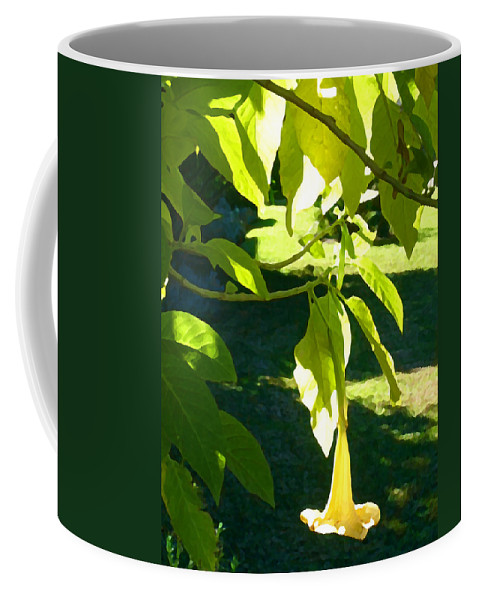 Spring Coffee Mug featuring the painting Single Angel's Trumpet by Amy Vangsgard