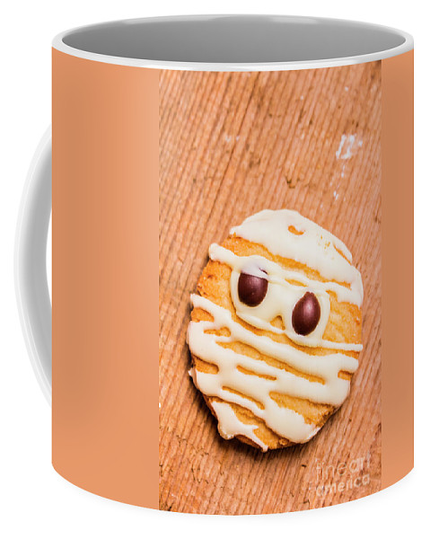 Cookies Coffee Mug featuring the photograph Single Homemade Mummy Cookie For Halloween by Jorgo Photography - Wall Art Gallery