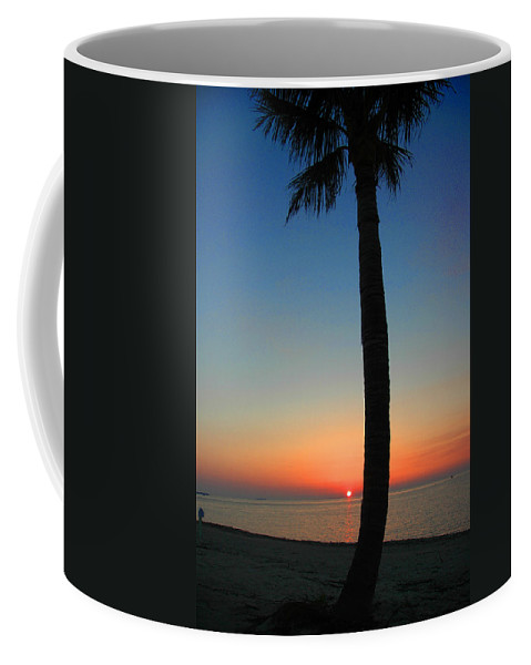 Photography Coffee Mug featuring the photograph Single Palm And Sunset by Susanne Van Hulst