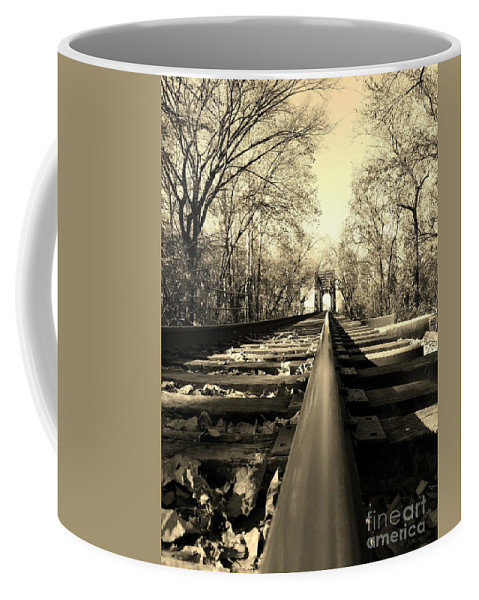 Railroad Coffee Mug featuring the photograph Single Track Mind - Sepia by Scott D Van Osdol
