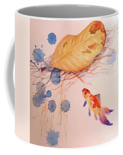 Fish Coffee Mug featuring the painting Sink Or Swim by Hobbs-Jane Avila