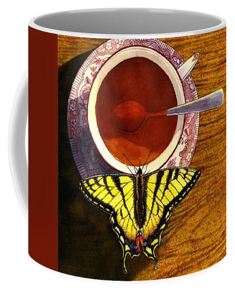 Butterfly Coffee Mug featuring the painting Sippin by Catherine G McElroy