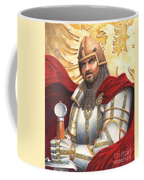 Swords Coffee Mug featuring the drawing Sir Gawain by Melissa A Benson