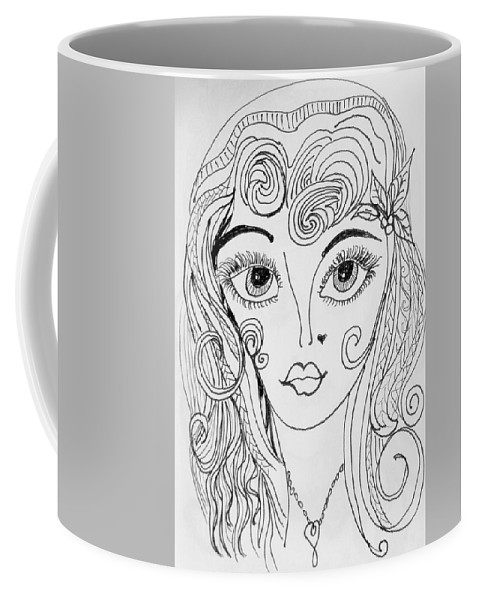 Impressionism Coffee Mug featuring the drawing Sisterhood Of The Doodling Pens 4 by Jewell McChesney