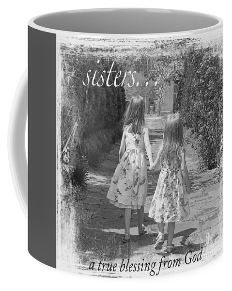 Girls Coffee Mug featuring the painting Sisters-black And White by Jean Plout