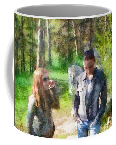 Sisters Coffee Mug featuring the painting Sisters by Jeffrey Kolker