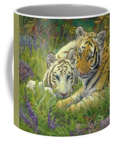 Tiger Coffee Mug featuring the painting Sisters by Lucie Bilodeau