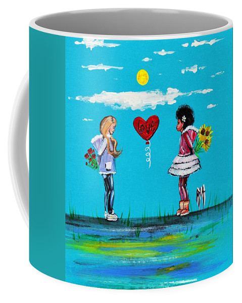 Love Coffee Mug featuring the painting Sisters by Artist RiA