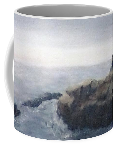 Landscape Coffee Mug featuring the painting Sisters Rocks Lake Superior 2 by J O Huppler