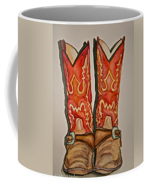 Red Boots Coffee Mug featuring the painting Sisters by Susan Herber