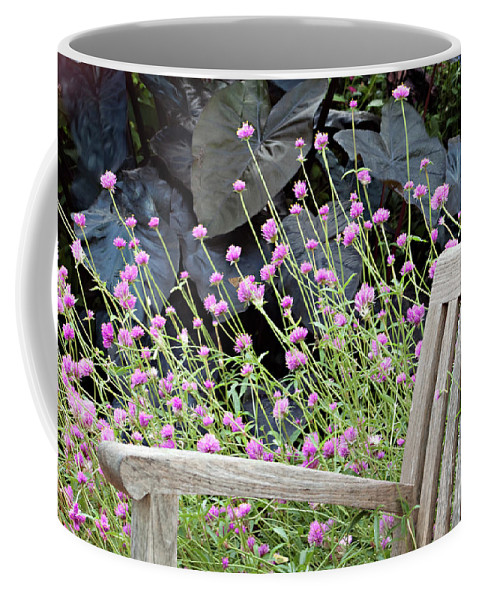 Bench Coffee Mug featuring the photograph Sitting Amongst A Wildflower Garden by Sherry Hallemeier