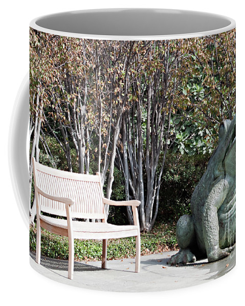 Bench Coffee Mug featuring the photograph Sitting And Watching The Frog by Sherry Hallemeier