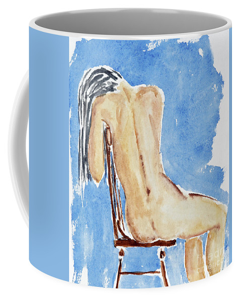 Girl Coffee Mug featuring the painting Sitting Girl by Michal Boubin