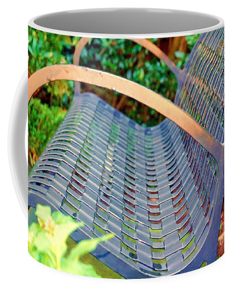 Bench Coffee Mug featuring the photograph Sitting On A Park Bench by Debbi Granruth