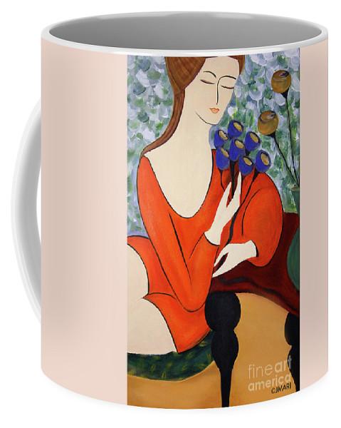 #female Coffee Mug featuring the painting Sitting Women by Jacquelinemari