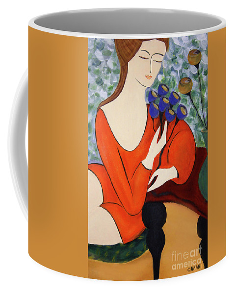 #female Coffee Mug featuring the painting Sitting Women by Jacquelinemari
