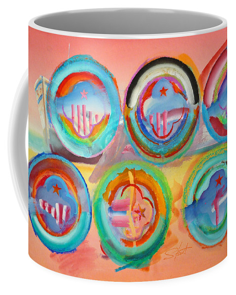 9/11 Coffee Mug featuring the painting Six American Icons by Charles Stuart