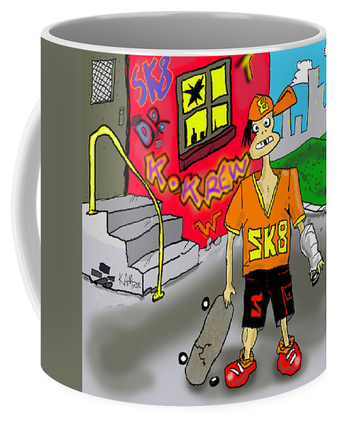 Cartoon Coffee Mug featuring the digital art SK8 by Kev Moore