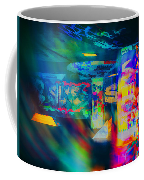 Colourful Coffee Mug featuring the digital art Skateboard Park by Leigh Kemp