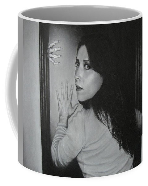Woman Coffee Mug featuring the painting Skeleton In The Closet by Lynet McDonald