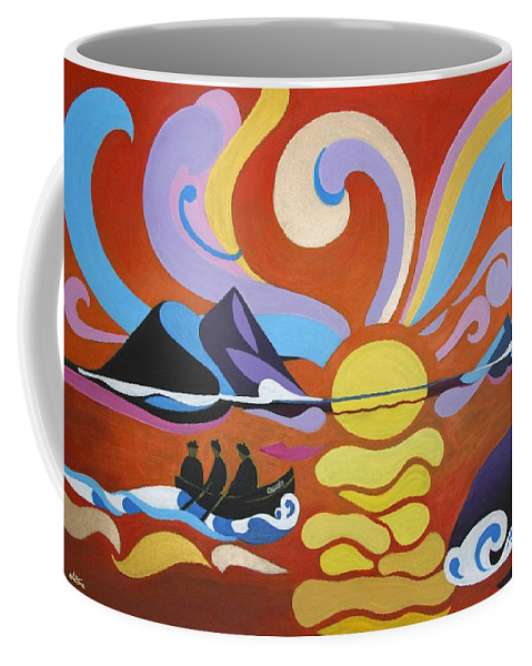 Wild Atlantic Coffee Mug featuring the painting Skellig by Martine Murphy