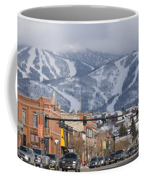 Ski Resorts Coffee Mug featuring the photograph Ski Resort And Downtown Steamboat by Rich Reid