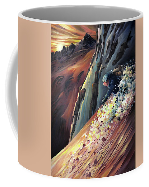 Steeps Coffee Mug featuring the painting Skier On The Steeps by Nancy Griswold