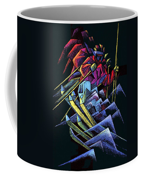 Pastel Coffee Mug featuring the drawing Skiing Moguls by Nancy Griswold
