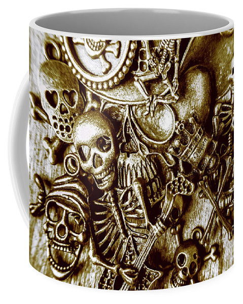 Gothic Coffee Mug featuring the photograph Skull And Cross Bone Treasure by Jorgo Photography - Wall Art Gallery