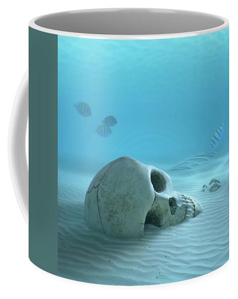 Skull Coffee Mug featuring the photograph Skull on sandy ocean bottom by Johan Swanepoel