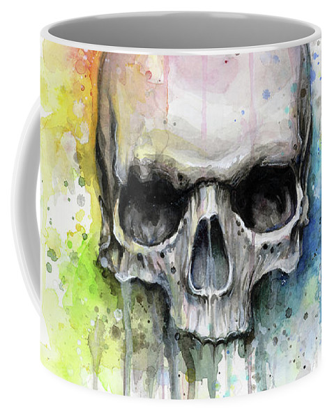 Skull Coffee Mug featuring the painting Skull Watercolor Rainbow by Olga Shvartsur