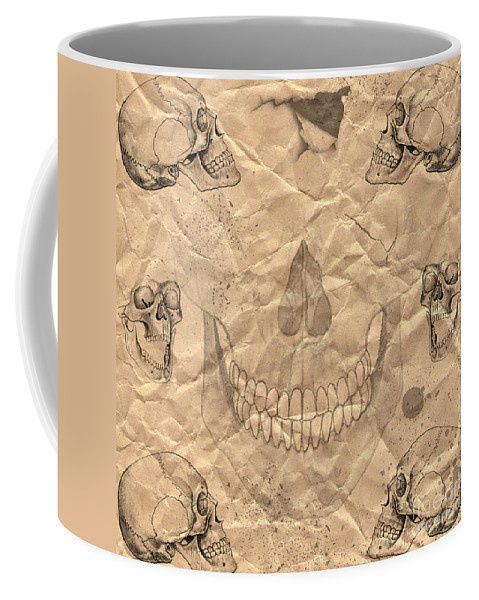 Halloween Coffee Mug featuring the digital art Skulls In Grunge Style by Michal Boubin